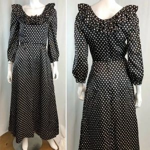 Vintage Polka Dot Ruffled Peasant Flare Maxi Dress
